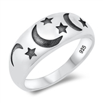 Silver Ring - Moon and Stars - $3.76