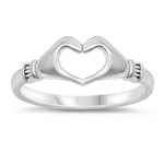 Silver Ring - Heart Hands - $3.18