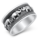 Silver Ring - Elephants - $9.98