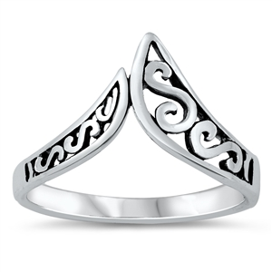 Silver Ring - Filigree V - $2.94