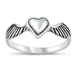 Silver Ring - Heart with Wings - $2.21