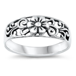 Silver Ring - Flower Filigree - $4.04