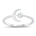 Silver Ring - Moon and Star - $2.39