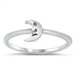 Silver Ring - Moon with Face - $2.16