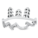 Silver Ring - Trees, Waves, Mountains - $3.05