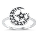 Silver Ring - Moon & Star - $2.85