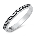 Silver Ring - Hearts Band - $2.90