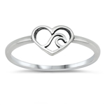 Silver Ring - Waves in Heart - $2.15