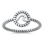 Silver Ring - Wave in Rope Band - $3.09