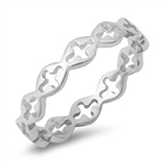 Silver Ring - Sideways Crosses - $2.38