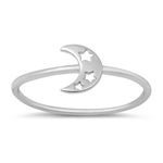 Silver Ring - Moon with Stars - $2.05