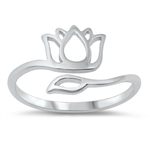 Silver Ring - Lotus Flower - $2.96