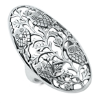 Silver Ring - Owls and Vines - $13.89