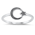 Silver Ring - Moon & Star - $2.22