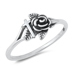 Silver Ring - Cross and Rose - $2.67