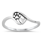 Silver Ring - Paw Print and Heart - $2.38