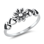 Silver Ring - Flower & Hearts - $2.57
