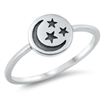 Silver Ring - Crescent Moon & Star - $2.46
