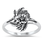Silver Ring - Flowers & Leaves - $3.40