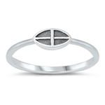 Silver Ring - Sideways Cross - $1.94