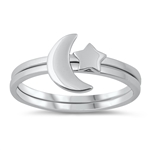 Silver Ring - Star & Crescent Moon - $4.06