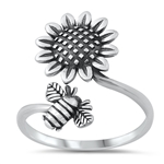 Silver CZ Earrings - Sunflower & Bee - $4.54