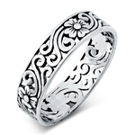 Silver Ring - Flower Filigree - $4.17