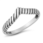 Silver Ring - Rope V Shape - $2.83