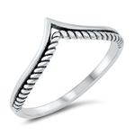 Silver Ring - Rope V Shape - $2.38