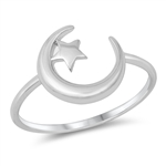 Silver Ring - Moon and Star - $2.56