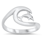 Silver Ring - Dolphin and Wave - $4.38