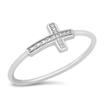 Silver Ring - Sideways Cross - $2.48