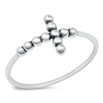 Silver Ring - Beaded Cross - $2.46