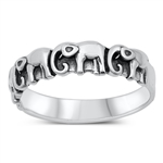 Silver Ring - Lucky Elephants - $4.87