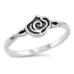 Silver Ring - Small Rose - $3.05