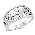 Silver Ring - Flower Filigree - $7.1