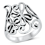 Silver Ring - Abstract Flowers - $6.49