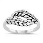 Silver Ring - Leaves - $4.15