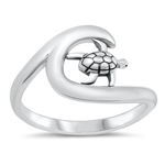 Silver Ring - Turtle and Wave - $3.79