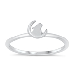 Silver Ring - Howling Wolf on Moon - $2.56