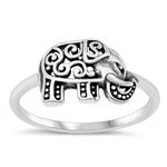 Silver Ring - Filigree Elephant - $3.19