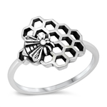 Silver Ring - Bee and Honeycomb - $3.39