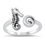 Silver Ring - Shell and Seahorse - $3.87