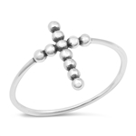 Silver Ring - Beaded Cross - $2.85