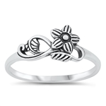 Silver Ring - Flower w/ Vines - $3.07
