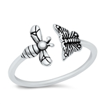 Silver Ring - Bee and Butterfly - $3.05