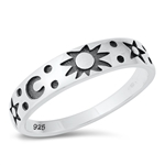 Silver Ring - Moon, Sun, and Stars - $4.14