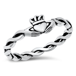 Silver Ring - Rope Claddagh - $3.54