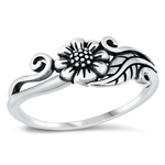 Silver Ring - Flower and Vine - $3.49