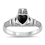 Silver Ring W/ Stone - Claddagh  -  $4.98